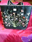 LULU GUINNESS EMBROIDERED CLASSIC VINTAGE TOTE MADE OF RAFIA AND CANVASBLACK