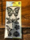 NEW Inkadinkado Mindscapes Clear Stamp Set 99121 Butterfly Dragonfly Hummingbird