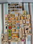 Lot of 90 Wood Mounted Rubber Stamps Stamping Up Rubber Stampede Stampendous