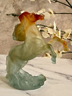 Daum Pate de Verre Crystal Rearing Wild Horse Mint Signed Authentic with Box