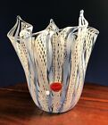 Murano Latticino Blue White Twist Ribbon Handkerchief fazoletto Vase signed