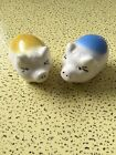 Vtg Pig Salt And Pepper Shakers Ivory With Blue And Yellow Small No Corks