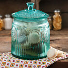 The Pioneer Woman Adeline Glass Cookie Jar Turquoise Kitchen Safe Storage New