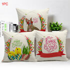 Soft Bedroom Cushion Cover Happy Easter Flax Sofa Home Decor Zipper Pillow Case