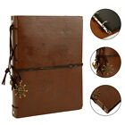 Diy Vintage Leather Photo Album Scrapbook Self-adhesive Albums Wbronze Pendant
