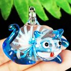 47x38x18mm Carved Blue Inlaid Lampwork Glass Cat Pendant Bead A25697