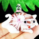 47x38x18mm Carved Pink White Inlaid Lampwork Glass Cat Pendant Bead A25698