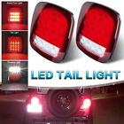 2x Red White Led Stop Turn Signal Lamp Tail Light Sealed For Jeep Wrangler TJ YJ