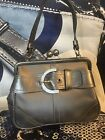 RARE LTD ED $398 COACH CRYSTAL SATIN LEATHER KISSLOCK FRAMED EVENING BAG 3579