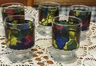 5 VINTAGE LIBBEY STAINED GLASS 6 1/2 OZ COCKTAIL WINE GLASSES