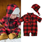 US Newborn Toddler Baby Boy Girl Plaid Romper Jumpsuit 2PCS Outfits Clothes 0 3T