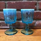WESTMORELAND VINTAGE BLUE OPALESCENT GLASS WATER GOBLET PANELED GRAPE LEAF EUC