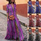Women Sling Striped Boho Maxi Dress Summer Long Beach Sundress Party Dresses
