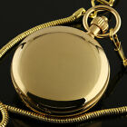 Mens Pocket Watch Mechanical Gold Dial Double Hunter Analog Lovers Gift Luxury
