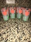 Set of (4) Hazel Atlas Polka Dot Frosted Green and Coral Drinking Glasses