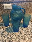 VTG Blue Lido Milano Glass Ball Pitcher Round with (3) Anchor Hocking Glasses