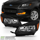 Black 2013 2016 Ford Escape Headlights Halogen Headlamps Replacement Left+Right