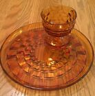 VTG Anchor Hocking Serva Snack Set Amber Block Pattern 8 PC Cups And Plates EUC