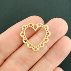 4 Heart Charms Gold Tone 2 Sided Lace Filigree GC1332