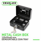 5 6 Locking Cash Box Money Small Steel Lock Security Safe Storage Check Black