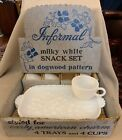 Vintage Hazel Atlas Dogwood Milky White Glass Snack Set Trays and Cups Orig Box