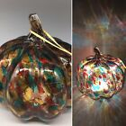 Blown Glass Pumpkin LED Lighted Amber Teal Red Purple Thanksgiving Decor 8 NEW