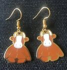 Beanie Baby Funky Brown Cow Retro Vintage Charm Earrings - Gold Plated Ear Wires