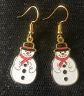 Beanie Baby Christmas Snowman Vintage  Charm Earrings - Gold Plated Ear Wires