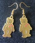 Beanie Baby Britannia Bear Retro Vintage Charm Earrings - Gold Plated Ear Wires