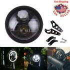 Black 65 Motorcycle LED Headlight Head Lamp For Harley Bobbers Cafe racer Dyna