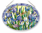 Iris Dragonfly Sun Catcher AMIA Large Oval Hand Painted Glass New Flowers Purple