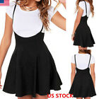 New Women High Waist Pleated Adjustable Strap Dress  Mini Suspender Skater Skirt