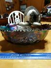 Carnival Blue Glass Irridescent Fruit Bowl