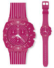 Swatch Chrono Pink Run Watch SUIP401 Analogue Chronograph Plastic Pink
