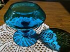 Vintage Empoli Italy art glass blue teal DIAMOND OPTIC COMPOTE goblet snifter