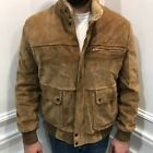 Vintage Anthony Fox L Leather Bomber Jacket Men Faux Shearling Tan Brown Pockets