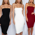 Tube Top Dress Backless Elastic Waist Bodycon Solid Cocktail Dress Evening Dress