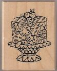 PSX Rubber Stamp BIRTHDAY CAKE ON STAND D 3371 Fancy Layer Flower Decorated 2002
