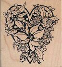 PSX Rubber Stamp POINSETTIA HEART K 1426 Berry Christmas Card 1995 Botanical