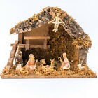 Vintage Fontanini Italian Nativity Wood with 8 Figures