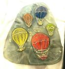 Higgins Mid Century Modern Fused Glass Large Tray Hot Air Balloons  Gilt