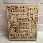 Stampin Up Word by Word Rubber Stamp Large BACKGROUND Mixed Media Words Joy Love