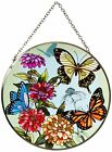 Butterfly Garden in Bloom Sun Catcher AMIA Hand Painted 65 Round Large New
