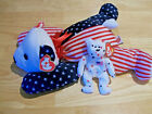 TY Sparkler The Bear Pillow Pal Patriotic Beanie Baby & Glory The Bear NWT Both