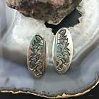 Native American Sterling Silver Oval Engraved Figure Dangle Earrings For Women