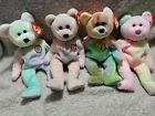 Multi color Beanie babies bears with tags!  BB, Celebrate, Peace, Groovy
