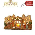 Lighted Nativity Scene With Manger Bethlehem Backdrop Stone Christmas Decoration