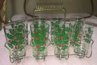 Vintage Mid Century Holly Christmas Drinking Glasses w/ Carrier Set of 8