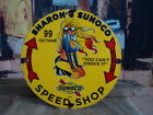 RARE 1962 SHARON'S SUNOCO SPEED SHOP PORCELAIN ENAMEL GAS PUMP SIGN RACING FUEL