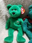 GREEN Beanie babies with tags! Kicks, 2001 Holiday, Erin, Wallace and Clover!